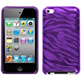 Flexi Soft Gel Skin Case for Apple iPod Touch 4th Generation - Zebra Print (Purple)