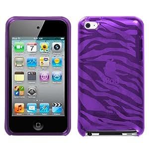 Flexi Soft Gel Skin Case for Apple iPod Touch 4th Generation - Zebra Print (Purple)