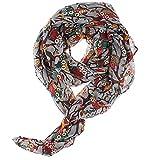Scarf Chiffon Shawl Owl Sheer Silk Spring Neck Vintage Printed Wrap Scarves