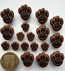 Paw Prints Novelty Craft Buttons & Embellishments by Dress It Up by Jesse James