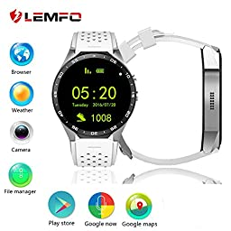 LEMFO KW88 Android 5.1 OS 3G Smart Watch Cell Phone 1.39 inch 400*400 screen MTK6580 Quad Core support 2.0MP Camera Bluetooth SIM Card WiFi GPS Heart Rate Monitor (Gray+White)