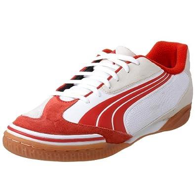 PUMA Men's v5.10 Sala  Soccer Shoe,White/Puma Red,13 D