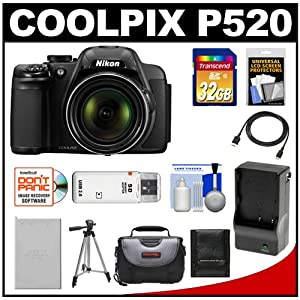 Nikon Coolpix P520 GPS Digital Camera (Black) with 32GB Card + Battery & Charger + Case + Tripod + HDMI Cable + Accessory Kit