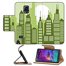 buy Luxlady Premium Samsung Galaxy Note 4 Flip Pu Leather Wallet Case Cartoon Abstract City Illustration With Many Buildings And Skyscrapers Urban Image Id 25191845