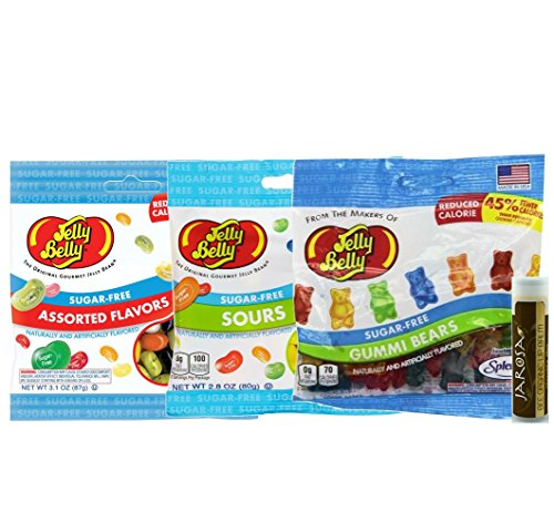 Jelly Belly Sugar-Free Variety Pack - 1 Assorted Sugar-Free Jelly Beans 2.8 oz, 1 Sugar-Free Sours 2.8 oz & 1 Sugar-Free Gummi Bears 2.8 oz and a Jarosa Bee Organic Chocolate Bliss Lip Balm (Starburst Jelly Beans Sour compare prices)