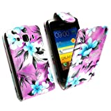 For Samsung Galaxy XCover S5690 Blue Flower On Purple Printed Pouch PU Leather Magnetic Protected Flip Case Cover + Stylus