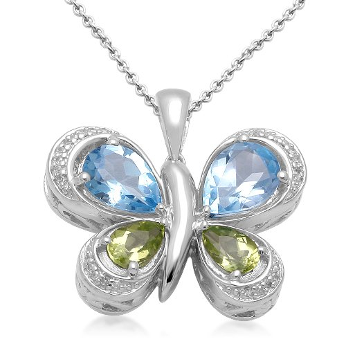 Sterling Silver Pear Shape Blue Topaz, Peridot and Genuine White Diamonds Butterfly Pendant Necklace, 18