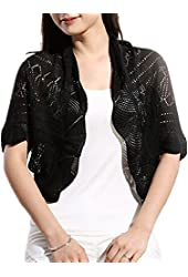 Mullsan® Women Girl Short Sleeve Light Cropped Knit Sweater Cardigan