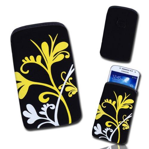 Handy Tasche Case Hülle schwarz / gelb / weiß E4 Gr.3 für Samsung C3312 Rex60 / S5222R Rex80 / Galaxy Young S6310 / Galaxy Young Duos S6312 / Galaxy Pocket Plus S5301 / Samsung Galaxy Pocket Neo S5310 / Alcatel OT 903D / Alcatel OT Star 6010D