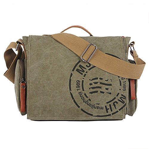 canvas bag uomo borsa a Spalla per la Scuola Tela Bag Tracolla Messenger (Verde Chiaro)