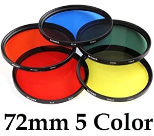 Neewer 72mm 5 Color Lens Filters Red Yellow Green Blue Orange for Contrast or Creative Effect
