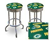 2 Green Bay Packers NFL Football Themed Specialty / Custom Barstools Set