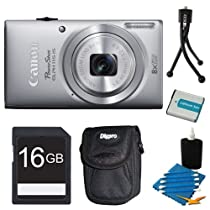 Canon Powershot ELPH 115 IS Silver Digital Camera 16GB Bundle - Includes camera, 16GB SD Memory Card, Ultra-Compact Digital Camera Deluxe Carrying Case, NB-11L Replacement Battery, Flexible Mini Table-top Tripod, and 3pc. Lens Cleaning Kit