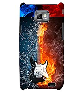 ColourCraft Water and Fire Guitar Design Back Case Cover for SAMSUNG GALAXY S2 I9100