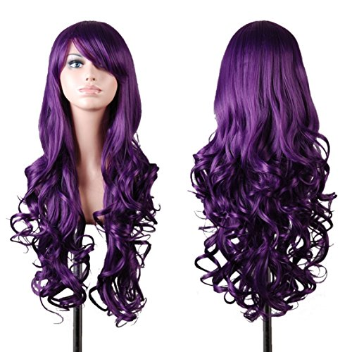 [iLoveCos Wigs Halloween Costume Wigs Long Hair Heat Resistant Spiral Curly Cosplay Wig -80cm] (Zombie Halloween Costume Makeup)