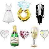 JINSELF 結婚サプライズグッズ 【大量8点セット】【巨大シャンパン/リング/ドレス】 バルーン装飾セット 結婚式で華やかな飾りつけ アルミ ハート インテリア 【巨大バルーンセット】 ランキングお取り寄せ