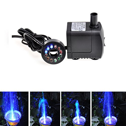 TSSS 270 GPH, Submersible Pump with 12 Color LED Light for Aquarium/Hydroponics/Fountain/Gardens