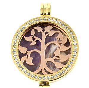 Milano Tree Coin Necklace Locket Pendant Holder Tree Stone & Gem Gold Locket Rose Tree On Amethyst 36 Inch Chain