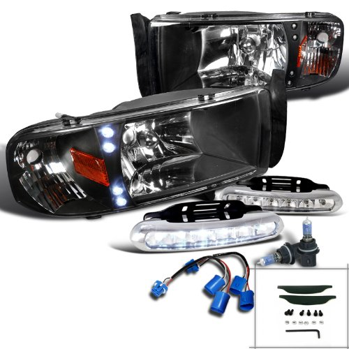 Ram 1500 Sport Pkg Black Led Headlights W/ Built-In Corner+Led Fog Lamps