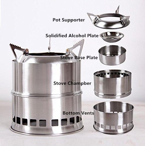 Lightweight Backpacking Stoves: Wealers Stainless Steel Lightweight Wood Burning Camping