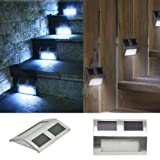 TSSS® (10-Pack) Solar Powered Stainless Steel Staircase LED Solar Step Lights, Solar Dock Light