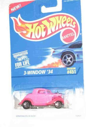 #451 3-Window '34 Ford Pink 7-Spoke Wheels Collectible Collector Car Mattel Hot Wheels