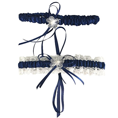 Classic Series Lace Wedding Garter with Pearl,2 Per Pack,Navy
