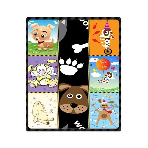 "Personalized Cute Dogs Jigsaw Blanket 50""X 60""(Medium) front-994334"