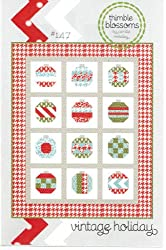 Vintage Holiday Christmas Quilt Pattern, 54 Inch by 68 Inch Finished Size