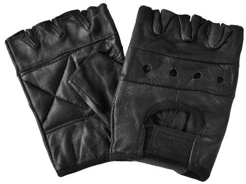 Lederhandschuhe, ohne Finger, ohne Nieten, schwarz Größe L