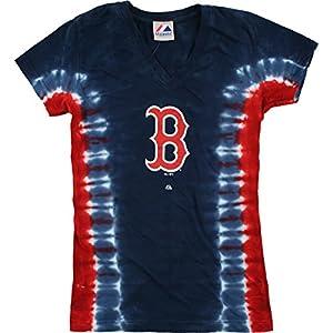 Buy Liquid Blue - MLB Boston Red Sox V-neck Tie-Dye Ladies Long Length T-Shirt by Liquid Blue