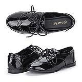 DREAM PAIRS LEXINGTON Women s New Casual Nubuck Upper Cut-Out Lace Up Oxford Flats Shoes LEXINGTON-1-BLACK 6.5 B(M) US