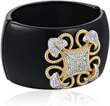 "CZ by Kenneth Jay Lane ""Classic"" Round Cubic Zirconia with Lace Diamond Filigree Design Hinged Cuff Bracelet"