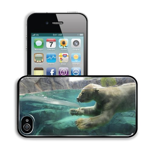 Polar Bear Underwater Swim Baby Apple Iphone 4 / 4S Snap Cover Premium Aluminium Design Back Plate Case Customized Made To Order Support Ready 4 7/16 Inch (112Mm) X 2 3/8 Inch (60Mm) X 7/16 Inch (11Mm) Liil Iphone_4 4S Professional Metal Cases Touch Acces front-767753