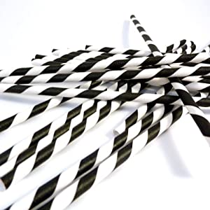 Bella Cupcake Couture Paper Party Striped Straws, Black/White
