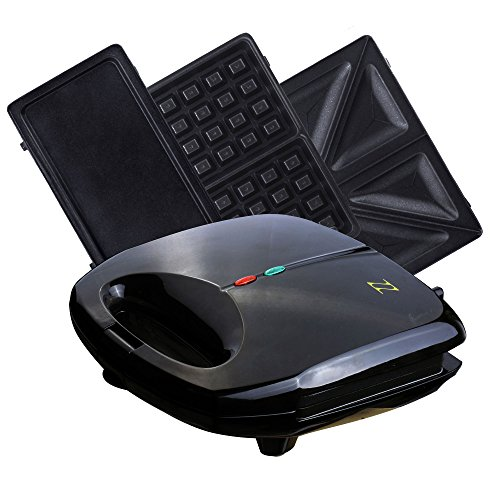 For Sale! ZZ S61421 3 in 1 Sandwich Waffle and Breakfast Maker with Non-stick Plates, Black
