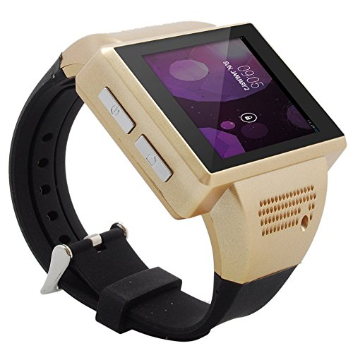 Allnice® An1 Unlocked Smart Watch Phone Wristwatch Phone Watch Capacitive Touch Screen Mtk6515 Dual Core 1Ghz Android 4.1 4G Rom Wifi Gps Bluetooth Fm 3.0Mp Spy Camera (Golden)