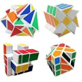 4-Pack YJ Cube Set - Included 3x3 YJ Fluctuation Angle Puzzle Cube - 2x3 YJ Wheel Puzzle Cube - 3x3 YJ Mirror Puzzle Cube 6 Color - 3x3 YJ Square King Puzzle Cube (Color: 4-pack Yj Cube)
