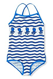 Square Neck Striped Octopus Swimsuit