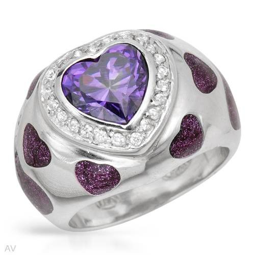 Lauren G. Adams Sterling Silver 5.2 CTW Cubic Zirconias Heart Ladies Ring. Ring Size 9. Total Item weight 9.1 g.
