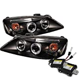 Carpart4u 6000K Xenon HID Performance Headlights Package for Pontiac G6 2/4DR CCFL LED ( Replaceable LEDs ) Black Projector Headlights