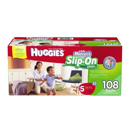 Huggies Little Movers Slip-On Diapers Mega Colossal Pack, Step 5, 108 Count