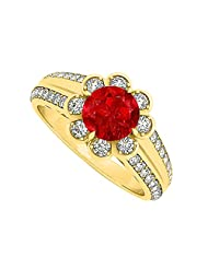 Fancy Ruby And CZ Floral Ring In 18K Yellow Gold Plated Vermeil 1.50 CT TGW