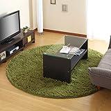 洗えるラグマット 床暖房対応 すべり止め付き ふかふか シャギーラグ カーペット 〔丸型185〕 グリーン