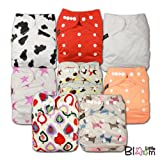 LittleBloom, Reusable Pocket Cloth Nappy, Fastener: Popper, Set of 8, Unisex Patterns 818, With 8 Microfibre and 8 Bamboo Inserts, set_13778