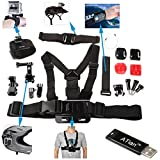 ATian(TM) 7 in 1 Accessory Kit Helmet strap+Velcro Belt+chest strap+Curved adhesive+J-hook and flat bases with 3M sticker+Elastic wrist strap+Safety steel wire for Gopro+ ATian Card Reader