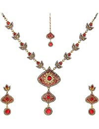 Sharnam E Mall Golden/Orange Brass Necklace Set For Women (SEM-32)