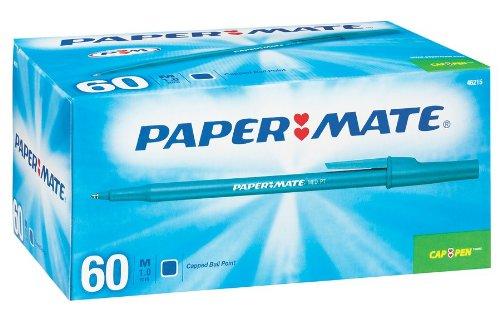 Paper Mate Write Bros. Stick Medium Tip Ballpoint Pens, 60 Blue Ink Pens (4621501)