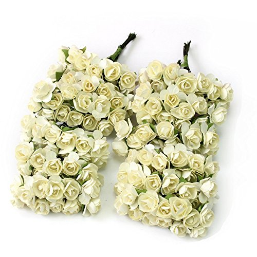 144pc Chic Mini Artificial Paper Rose Flower Wedding Card Decor Craft Diy (ivory) By Homgaty