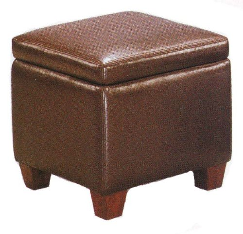 Deals brown faux leather storage ottoman foot stool for Foot storage ottoman